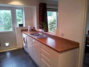 Replaced kitchen worktops and base units
